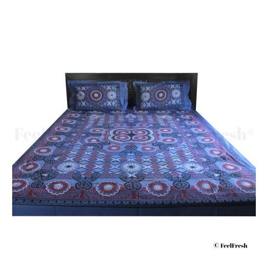 Navy Blue Printed Bedspread