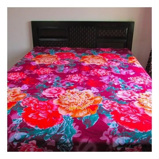 Printed Big Flower Bed Spread