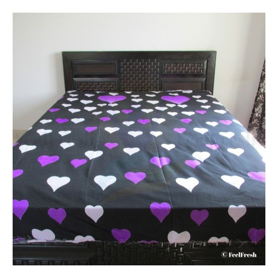 Printed Black Heart Bed Spread