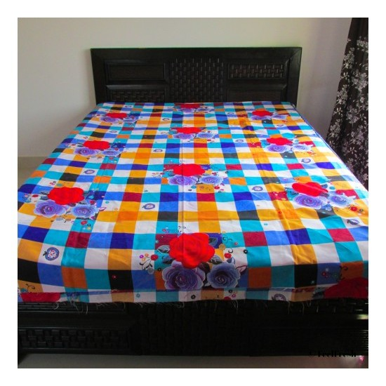 Printed Flower Checked Bed Spread