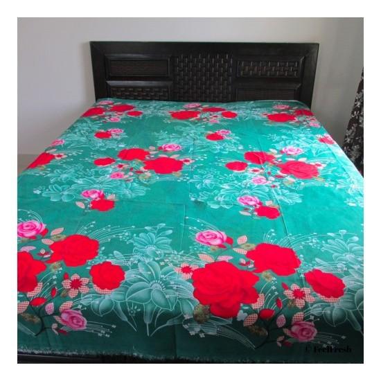 Printed Rose Flower Bed Spread